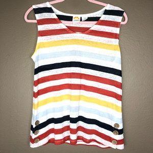 C&C CALIFORNIA | Striped Linen Colorful Tank Shirt